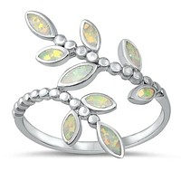 Spring Leaves Lab Opal Promise Ring