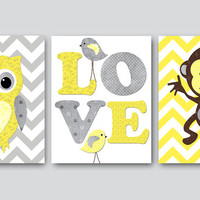 Kids Wall Art Owl Nursery Monkey Nursery Baby Nursery Decor Baby Girl Nursery Kids Art Baby Room Decor Nursery Print set of 3 11x14 Yellow