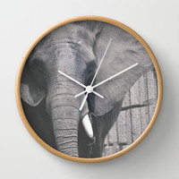 ELEPHANT PHOTOGRAPH - BLACK AND WHITE Wall Clock by Allyson Johnson