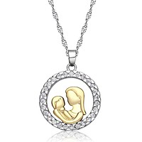 14K Gold Plated Circle of Love Mother & Child CZ Necklace For Woman