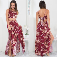 Floral Strappy Lace Up Backless Crop Maxi Dress