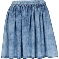 Blue acid wash mini skater skirt