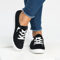 Round Toe Black Flat Sneakers