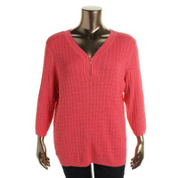 Karen Scott Womens Plus Cable Knit Long Sleeves Pullover Sweater