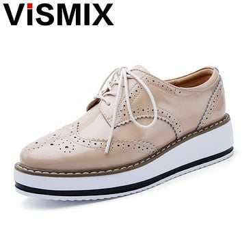 VISMIX 2017 Spring Women Platform Shoes Woman Brogue Patent Leather Flats Lace Up Footwear Female Flat Oxford Shoes For Women
