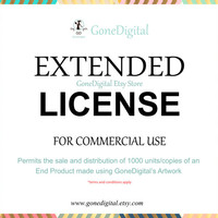Extended License for Commercial Use - No Credit Add-on: Permit the Sale of 1000 Units of an End Product- Use with Digital Papers or Clip Art