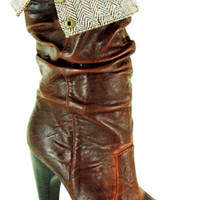 SALE!!! Brown Ruched Tweed Meagan Boots - 5.5 to 10 - Unique Vintage - Cocktail, Evening & Pinup Dresses