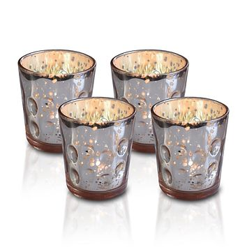 4 Pack | Vintage Mercury Glass Candle Holders (3-Inch, Tess Design, Rose Gold Pink) - for use with Tea Lights - for Home Décor, Parties and Wedding Decorations