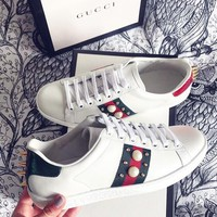 Gucci Fashion Woman Men Pearl Flats Shoes Sneakers Sport Shoes