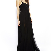 Black Strappy Mesh Maxi Dress