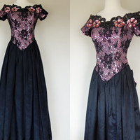 1980's black pink prom gown, sequin lace dress w/ metallic pink ruffled train, short sleeve beaded formal fit and flare dress, Medium, US 8