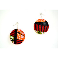 Red Tribal African Fabric Cover Earrings