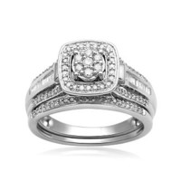 Eternal Treasures Sterling Silver 1/2cttw Diamond Square Halo Bridal Set Size 7 Only - Jewelry - Rings