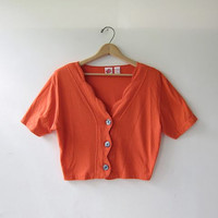 20% OFF SALE. 80s Cropped Shirt. Orange button front top. Crop belly top.