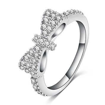 New Elegant Bow Ring Silver Color Micro Inlay Cubic Zirconia Ring