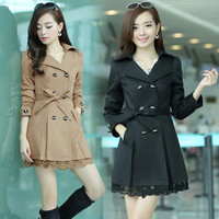 2015 new autumn female coat in the long section of Korean women skinny fat MM size double breasted coat slim tide = 1930504452