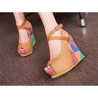 Fashionable colourful sloping heel comfortable pattern sewing women's shoes