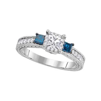 14k White Gold 3-stone Blue Diamond Wedding Bridal Engagement Ring 1 Cttw