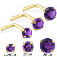 14K Real Gold (Nickel free) L-shaped nose pin with Round Amethyst
