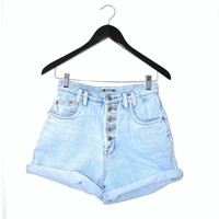 high waisted pale faded denim button fly summer shorts small/ medium
