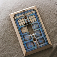 Doctor Who Tardis woodburned wallplate