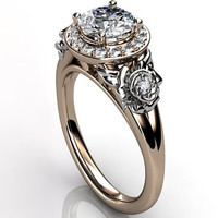 14k two tone rose and white gold diamond unusual unique floral engagement ring, bridal ring, wedding ring, anniversary ring ER-1098-6
