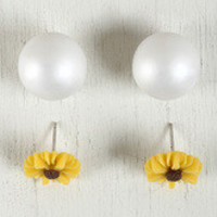 Sunflower Pearl Double-Sided Earrings
