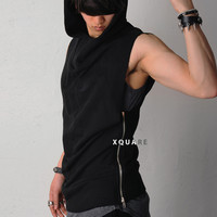 Dark Side Zipped Sleeveless Long Jersey Hoodie