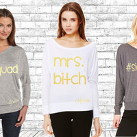 SQUAD SIDEBI*CH MrsBitch - Off the Shoulder Shirt - Fully Customizable - Personalized Bachelorette Tops