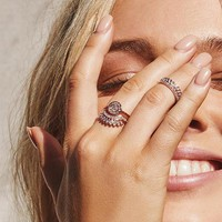 LUV AJ | Cosmic Coin Flare Ring Set - Rose Gold