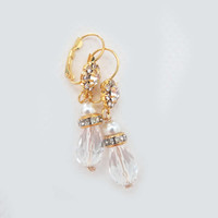 Vintage Style Bridal Gold Drop Crystal Earrings Beautiful Gold Dangles for Brides Bridesmaids Wedding Jewelry Pearl, STELLA