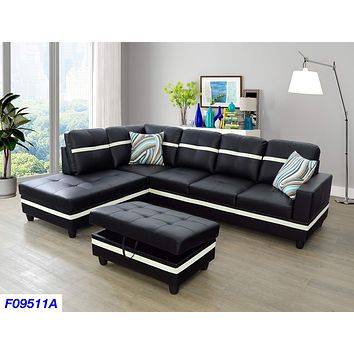 LifeStyle Furniture Left Facing 3PC Sectional Sofa Set,Faux Leather,Black(LSF09511A) left hand facing Black&white