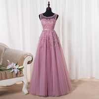 Pink embroidered prom dress pink tulle dress bridesmaid dress pink long prom dress