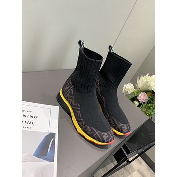 FENDI 2021 Trending Women's men Leather Side Zip Lace-up Ankle Boots Shoes High Boots08020xf