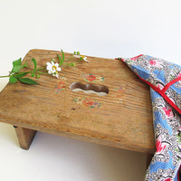 vintage rustic wood stool handmade - cottage chic