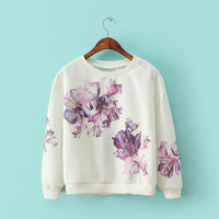 White Purple Floral Print Sweater