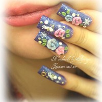 Japanese nail art 3D flowers angels snow flakes sparkle by Aya1gou