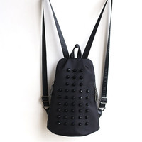 On Sale Hot Deal Comfort Back To School College Stylish Rivet Summer Korean Nylon Leather Casual Backpack [4915815620]