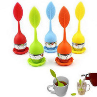 Silicone & Stainless Steel Leaf Tea Strainer Teaspoon Infuser Spice Filter