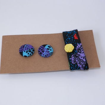 Matching Gift Set For Her Wrist Cuff and Fabric Covered Button Earrings Your Choice of One
