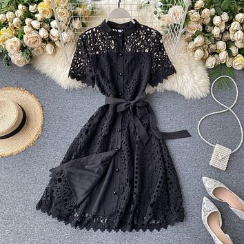 Summer Lace Dress Women 2020 New Vintage Sexy Hollow Out  Balck Mujer Casual Short Sleeve Beach Red Dresses Party Vestidos