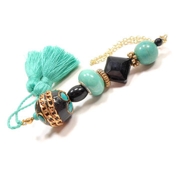 Turquoise Black Scissor Fob Beaded Cross Stitch Needlepoint Sewing Quilting Elite Gift for Crafter DIY Crafts