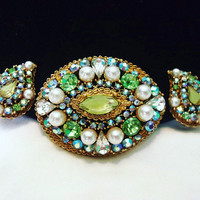 Art Signed AB Blue Green Givre Glass Pearl Victorian Revival Vintage Brooch Pin Earrings Set