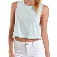 Pom-Pom Trim Muscle Tee by Charlotte Russe