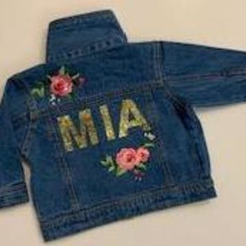 Custom Name Denim Infant Jacket - Mia Grace Designs