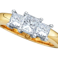 Diamond Princess 3-stone Ring in 14k Two Tone Gold 0.75 ctw