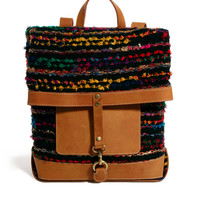ASOS | ASOS Backpack With Stripey Weave And Leather at ASOS