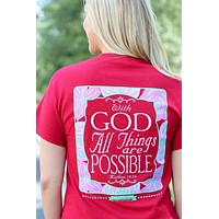 SALE Southern Darlin With God All Things are Possible Christian Bright Girlie T-Shirt