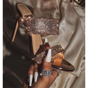 New style women's shoes with rhinestone stiletto high heel sandals and slippers
