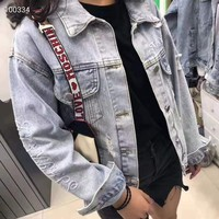 Women Leisure Fashion Popular  Letter printing Embroidery Long Sleeve Loose Washed Cowboy Pocket Coat